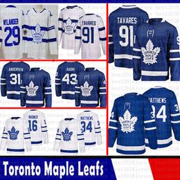 0fa44692132 Toronto Maple Leafs 91 John Tavares Hockey Jerseys 16 Mitch Marner 34  Auston Matthews 43 Nazem Kadri 31 Frederik Andersen william nylander leafs  jersey 43 ...
