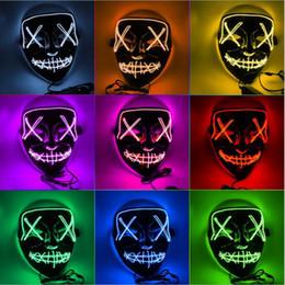 2019 grandes oreilles en plastique Cadeau de vacances Halloween El Fil Masque Froid Lumière Ligne Parti Fantôme LED Lumière Masque Partie Horreur Glowing Danse Masques Gratuit DHL