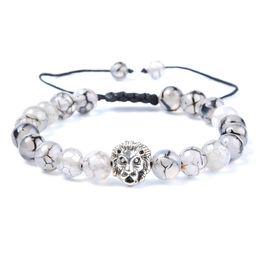Braccialetto indiano della testa online-Di buona qualità Moda uomo argento antico fatto a mano in acciaio perline naturali agate indiane gioielli testa di leone braccialetto per le donne