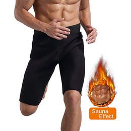 2019 pantalones cortos de hombres gordos Sfit Men Hot Sweat Sauna Pantalones Thermo Slimming Shorts deportivos Muslo Shaper para perder peso Neopreno Fat Burner 2019 Fashion Male pantalones cortos de hombres gordos baratos