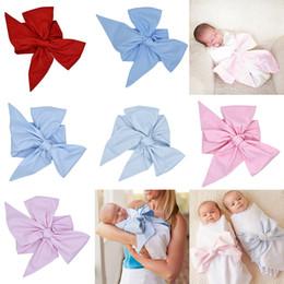 grandes mantas de bebé Rebajas INS fajas de arco grandes Recién nacido Swaddle Baby Bow Sash para Swaddled Baby Maternity infantil Mantas Photo Prop 7 colores 184 * 14cm C924