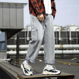 хип новые джинсы мальчики Скидка Новые поступления молодой мальчик мужской Жан весной и осенью рекомендуется сплошной цвет повседневные джинсы простые свободные хип-хоп уличной брюки