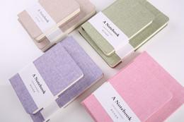 Telas vintage para online-logotipo personalizado clásico de la vendimia lino papelería cuaderno diario Los viajeros School Notebook Notebook Línea en blanco lindo papel cuadrado