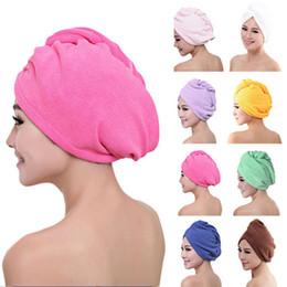 Involucro testa online-2019 microfibra dopo doccia asciugatura dei capelli avvolgere womens girls lady asciugamano cappello capelli asciugatura rapida cappello turbante capo avvolgere strumenti di balneazione st039