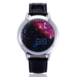 digital touch watches for men Coupons - Fashion Starry Sky LED Touch Watches For Men Women Digital Clock Leather Band Waterproof LED Watch Electronics Lover Wristwatch