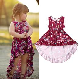 Tuxedos niños púrpura online-0-4 años las niñas se visten púrpura vestido estampado floral para las niñas sin mangas esmoquin ropa para niños vestido de bebé