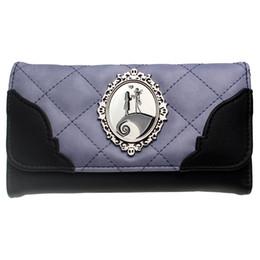 Porte-monnaie violet en Ligne-Insigne de porte-monnaie Jack and Sally Metal Black / purple Grid brodé sac à main pour femme The Nightmare Before Christmas DFT-6019