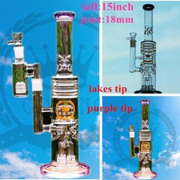 Bang de peinture en Ligne-usine Purple Recycler En Verre Mini Tuyau Fumeur Tuyau En Verre Coloré Non Peint Bécher Bong Bubbler Tuyaux D'eau En Verre 30 cm De Haut Avec 14.4mm