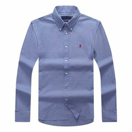 Homens de camisas xadrez azul on-line-dddd manta de lapela de transporte dos homens camisa de algodão de manga comprida homens azul marinho camisas polo oxford business casual camisa pequena roupa de cavalo s-xxxl