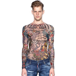 2020 fashion men s full sleeve t shirt Fashion-Hot Sale Full Body Tattoo Camiseta de flores de manga larga Hombres / Mujeres Slim Fit O-cuello Stretch Tops Tee Camisetas casuales divertidas fashion men s full sleeve t shirt baratos