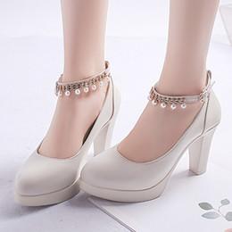 Туфли Плюс Размер Женщин Свадебные Строки Бисера Ремень Лодыжки Высокие Каблуки Платье Платформа Каблуки Свадебные Жемчужные Насосы N7147 от Поставщики шнуры для обуви