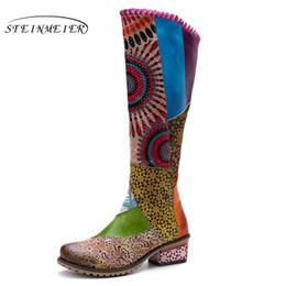 botas de rodilla de látex Rebajas Botas de invierno de mujer Cuero genuino de vaca Zapatos cómodos y suaves de calidad hechos a mano Bohemio botas largas y cálidas sobre la rodilla bota 2019