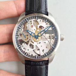 Observa complicaciones online-De calidad superior T-Complicación Reloj de Squelette Esfera de esqueleto de acero inoxidable con correa de cuero negro Reloj de cuerda manual mecánico T070