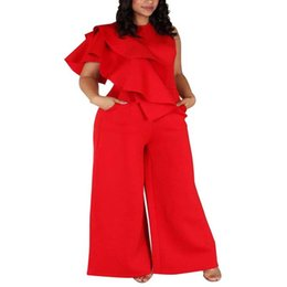 women african jumpsuit Promo Codes - African Clothes Plus Size 5XL Elegant Ruffle Jumpsuit Women Sleeveless Solid Red Loose Wide Leg Pants Rompsuit Bodycon L-5XL
