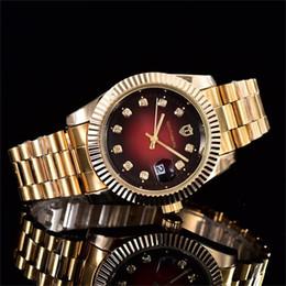 Calendário relógio de quartzo on-line-40mm de luxo das mulheres famosas dos homens relógios de quartzo relógio de aço inoxidável literal strass dial relógio calendário função de quartzo relógios