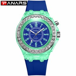 Relojes de diamantes para niñas online-PANARS 2019 New Arrival Elegant Diamond Patchwork Colorful Sports Quartz Wristwatches Men's Luminous Multifunction Watches Girls