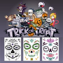 Faccia messicana online-Tatuaggi adesivi temporanei Tatuaggi temporanei per tatuaggi di Halloween Tatuaggi adesivi temporanei per il viso Il nuovo cranio del giorno dei morti