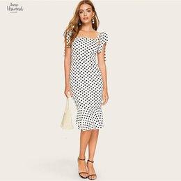 polka dot slim bodycon vestido elegante Desconto Strap Verão elegante branco atado Lápis Polka-Dot Mermaid Hem Midi vestido Mulheres Slim BODYCON Office Lady Vestidos