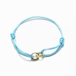 Gelenke armreifen online-2019 heißer verkauf hohe qualität zwei gold joint ringe armband blau seil liebhaber geschenke mit box und dastbag