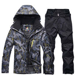 ski costumes Coupons - black grey Man professional Snowboarding clothes Ski suit sets Waterproof windproof winter outdoor costumes snow jackets + pants