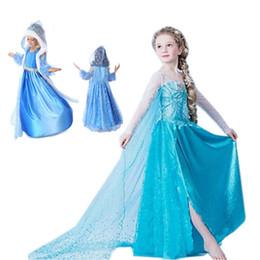 Kapuzenmantel mädchen online-Baby Princess Kleid Pailletten Diamant Cosplay Kinder Designerkleidung für Eis-Königin mit Kapuze Mantel-Kleid-Halloween-Party-Bühne 06