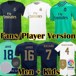 Un jugador verdadero online-Camiseta equipación Real Madrid 2019 2020 HAZARD JOVI MILITAO VINICIUS ASENSIO MARCELO ISCO conunto adultos niños