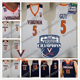 a470d9999 2019 Champions Virginia Cavaliers NCAA MOP  5 Kyle Guy 12 De Andre Hunter  Men s Basketball Navy Blue UVA Final Four Jerseys S-3XL