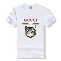 Katze stil hemd männer online-Herren Designer T Shirts Sommer Marke Katze Muster Print Shirt Männer Frauen Paar Stil Tees Heißer Verkauf Luxus Tops Mode Kleidung