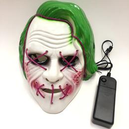 2019 ужасные маски для кино LED маски Glow маски Halloween Fluorescent фильм Клоун Маска с накаливания крови Horror Thriller LED Light Mask EEA594 дешево ужасные маски для кино