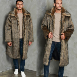 Schöne pelze online-Faux Fur Herren Wintermäntel und Jacken Lässige Lederjacke Nizza Fashion Fleece Warm Thick Umlegekragen Fur Long Men Coat
