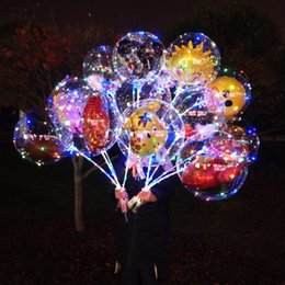 bobo cartoon Promo Codes - LED Cartoon Balloon Luminous Transparent Bobo Ball Night Light Up Balloons Toys Flashing Balloon with Stick Handle Festival Party Decor