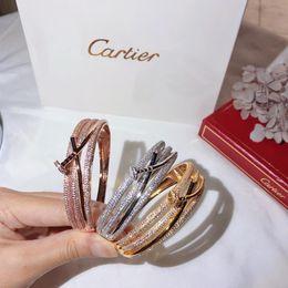 платиновые гвозди Скидка Роскошные дизайнерские украшения женские браслеты три слоя ногтей бриллианты платина розовое золото браслет из стерлингового серебра