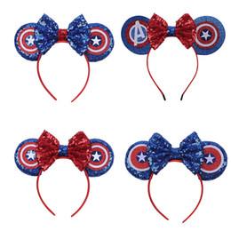 Fasce americane online-Avengers Neonate Sequin Bow Fascia per bambini Mouse orecchie Capitan America Bastoncini per capelli Bambini Headwear Boutique accessori per capelli C6693