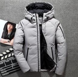 Entenmänner kleidung online-Winter-neuer Mann-weiße Ente Daunenjacke klassische Art starke warme beiläufige mit Kapuze Daunenmantel Kleidung Grau Khaki Schwarz