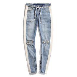 Jeans slim blancos para hombre online-Moda para hombre Diseñador Jeans Diseñador para hombre Flaco Ripped White Striped Jeans para hombre elástico delgado cordón Biker Jeans negro azul