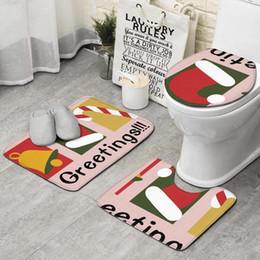 2019 ensembles de décoration de salle de bains de noël Décor de vacances de Noël Bienvenue ensemble de 3 pièces de bain noir, tapis de tapis antidérapant Tapis de bain Tapis de bain tapis de salle de bains sur pied ensembles de décoration de salle de bains de noël pas cher