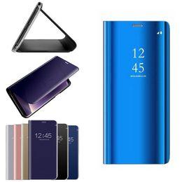 Ver telefones on-line-Original flip stand phone case para samsung galaxy note 9 8 s8 s9 s10 mais s7 borda inteligente espelho vista case capa