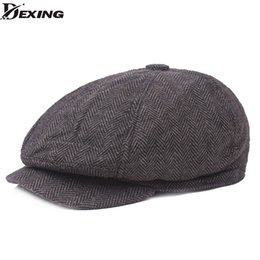 Gli uomini del berreto epoca a spina di pesce Gatsby tweed Peaky Blinders molla cappello dello strillone del cappello Beret piatto visiera Cappelli da