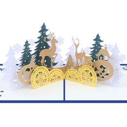 Enviar tarjetas de felicitación 3d online-Tarjeta de felicitación 3D Up Christmas Elk Navidad Hollow Bendición de regalo Pop Up Greeting Postcard Envío gratis