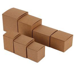 Scatole di kraft riciclate online-1-17Joy, scatola regalo in carta kraft naturale riciclata 6 * 6 * 6cm, scatola di carta kraft imballata piatta