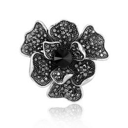 Flores de ramillete negro online-Cristal negro Flor Broches Ramillete Broche Broche Accesorios de joyería de moda del banquete de boda para mujeres