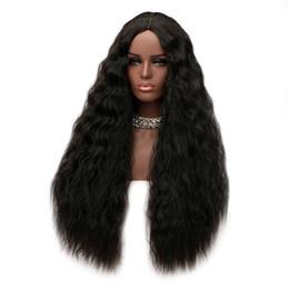 Longue partie moyenne Shaggy vague profonde perruque synthétique lâche profonde synthétique avant de lacet perruque résistant à la chaleur lourde densité femmes afro-américaines perruques ? partir de fabricateur