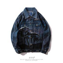 2019 кленовая куртка Джинсовая куртка дизайнерская мужская модная личность градиентный кленовый лист Мужская джинсовая куртка скидка кленовая куртка