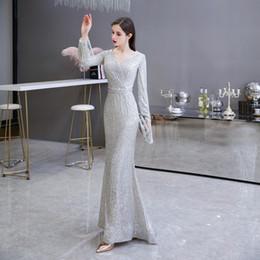 2020 paillettes d'argento lunga della sirena abiti da cocktail partito maniche con scollo a V Fit Belt floor-lunghezza del partito di promenade vestono abiti da sera eleganti da