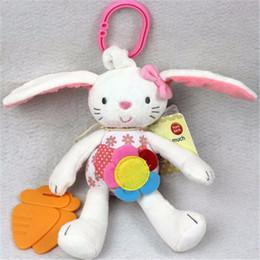 brinquedo de pelúcia rosa coelho Desconto Rosa bonito Coelho Boby Bed Hanging Decoração bebê brinquedo macio Plush Coelho Crianças Rattle de toque de campainha Crib Bed Hanging brinquedo animal
