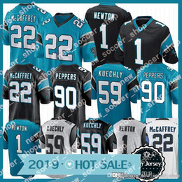 Newton jersey online-Carolina 1 Cam Newton Panthers camiseta 22 Christian McCaffrey 59 Luke Kuechly bordado Logos Hombres 90 Julius Peppers Jerseys
