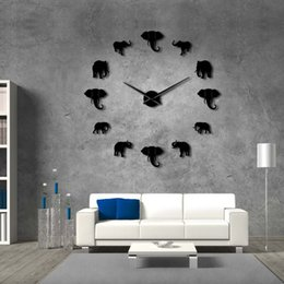 2019 animales gigantes 37 pulgadas Selva Animales Elefante DIY Reloj de Pared Grande Decoración para el hogar Diseño Moderno Efecto Espejo Gigante Sin Marco Elefantes Reloj Reloj DIY rebajas animales gigantes