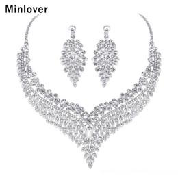 jóia presente de ouro rosa 24k Desconto Minlover luxo de noiva Africano de jóias folheadas Conjuntos para Declaração Mulheres cristalinas colar brincos jóia casamento conjuntos