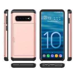 samsung galaxy slide telefon Rabatt Für Galaxy S10 Dual Layer Rüstung Coque Phone Case mit Slide Card Fundas Case für Samsung S10 plus S10 Lite