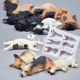 dog silicone cake mould Coupons - 3D Puppy Corgi Model Dog Silicone Molds Pastry Fondant Cake Soap Mold DIY Chocolate Cookies Sugar Jelly Mould Baking Tool